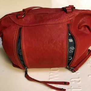LUCKY BRAND Red Leather Whipstitch Shoulder Bag